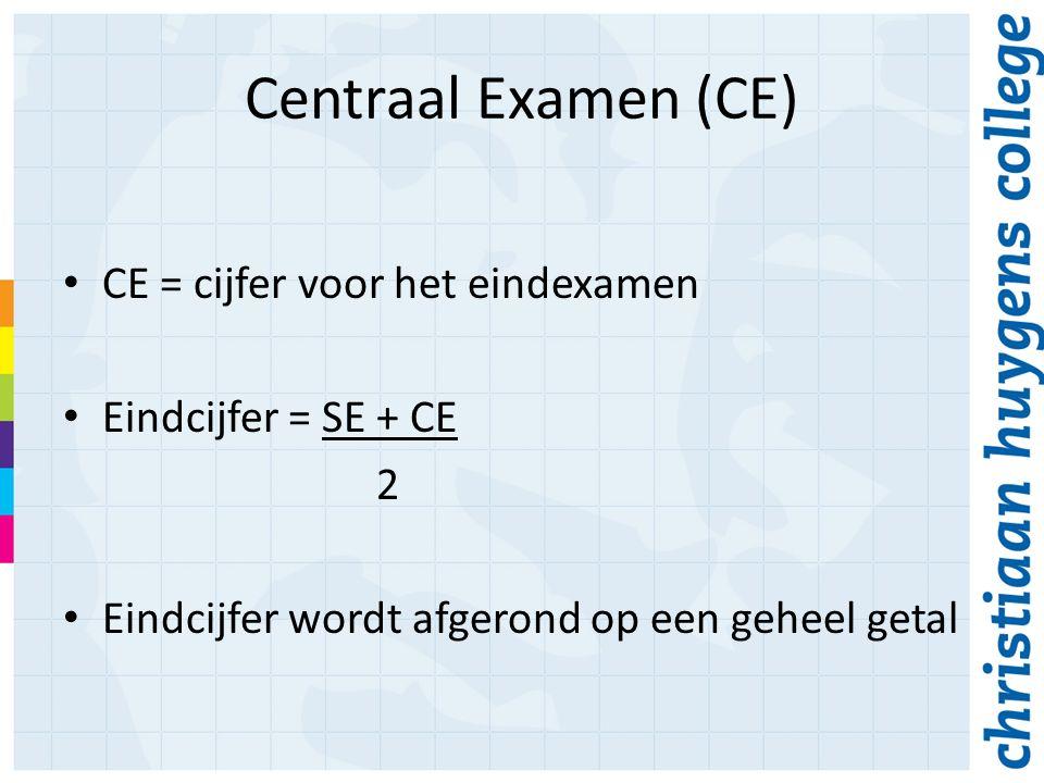 Centraal Examen (CE) CE = cijfer voor het eindexamen Eindcijfer = SE + CE 2 Eindcijfer wordt afgerond op een geheel getal