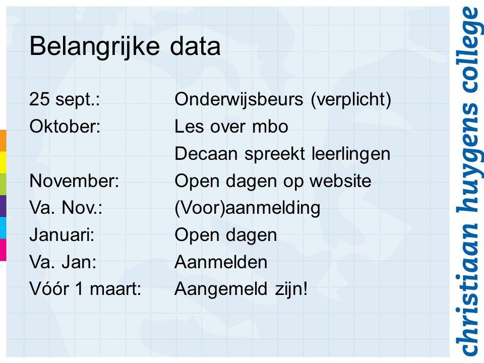 Belangrijke data 25 sept.:Onderwijsbeurs (verplicht) Oktober:Les over mbo Decaan spreekt leerlingen November:Open dagen op website Va.