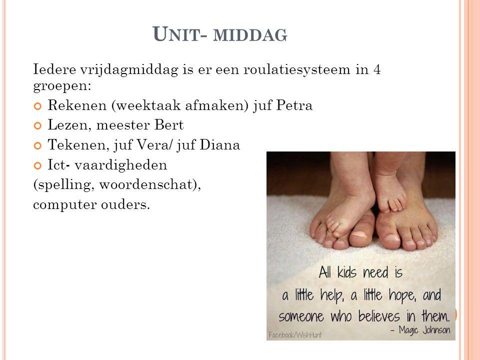 U NIT - MIDDAG Iedere vrijdagmiddag is er een roulatiesysteem in 4 groepen: Rekenen (weektaak afmaken) juf Petra Lezen, meester Bert Tekenen, juf Vera