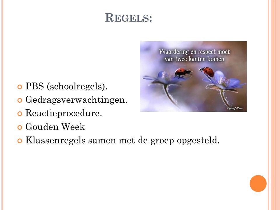 R EGELS : PBS (schoolregels). Gedragsverwachtingen. Reactieprocedure. Gouden Week Klassenregels samen met de groep opgesteld.