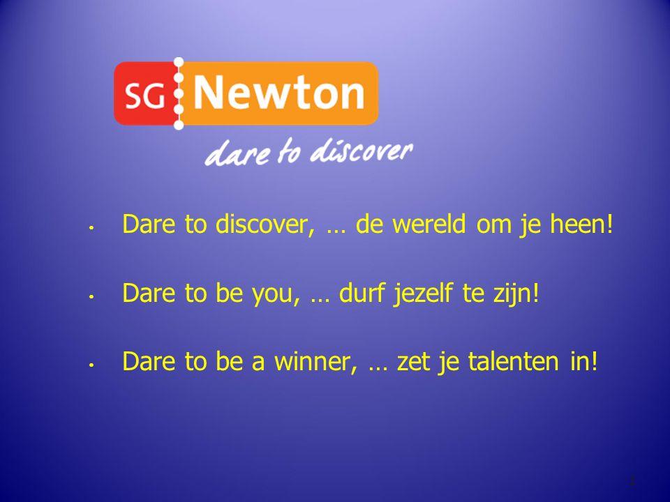 Dare to discover, … de wereld om je heen! Dare to be you, … durf jezelf te zijn! Dare to be a winner, … zet je talenten in! 1