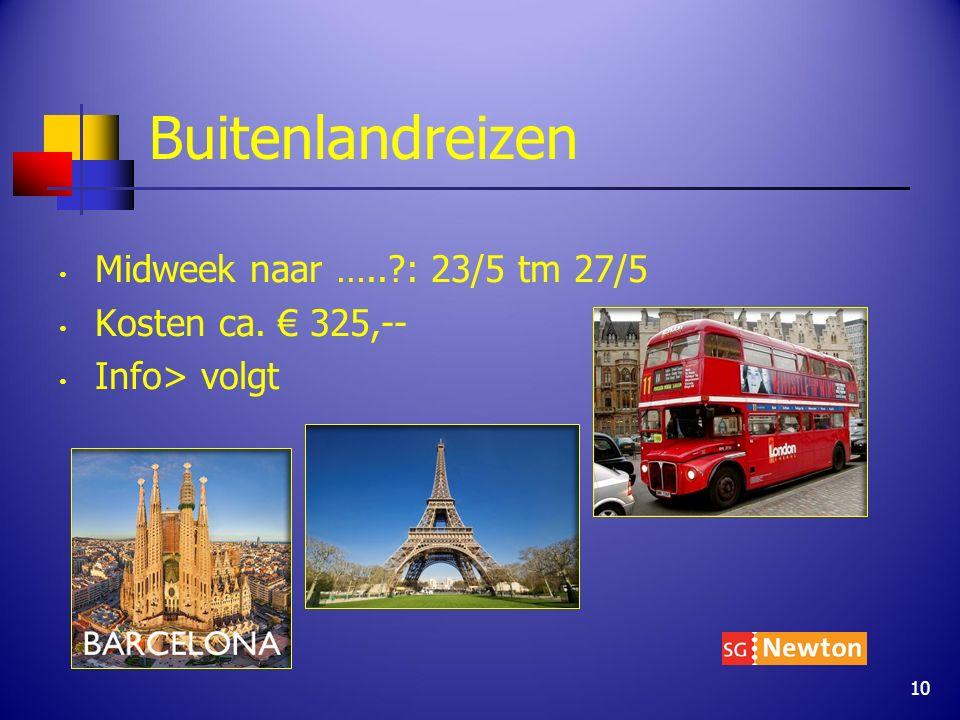 Buitenlandreizen Midweek naar …..?: 23/5 tm 27/5 Kosten ca. € 325,-- Info> volgt 10