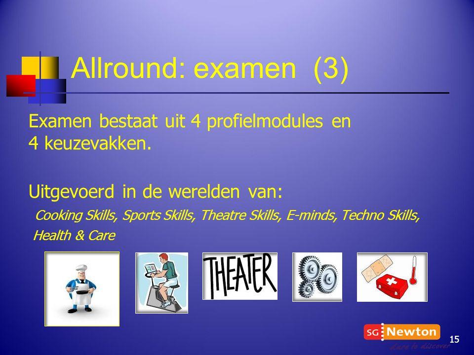 Allround: examen (3) Examen bestaat uit 4 profielmodules en 4 keuzevakken. Uitgevoerd in de werelden van: Cooking Skills, Sports Skills, Theatre Skill