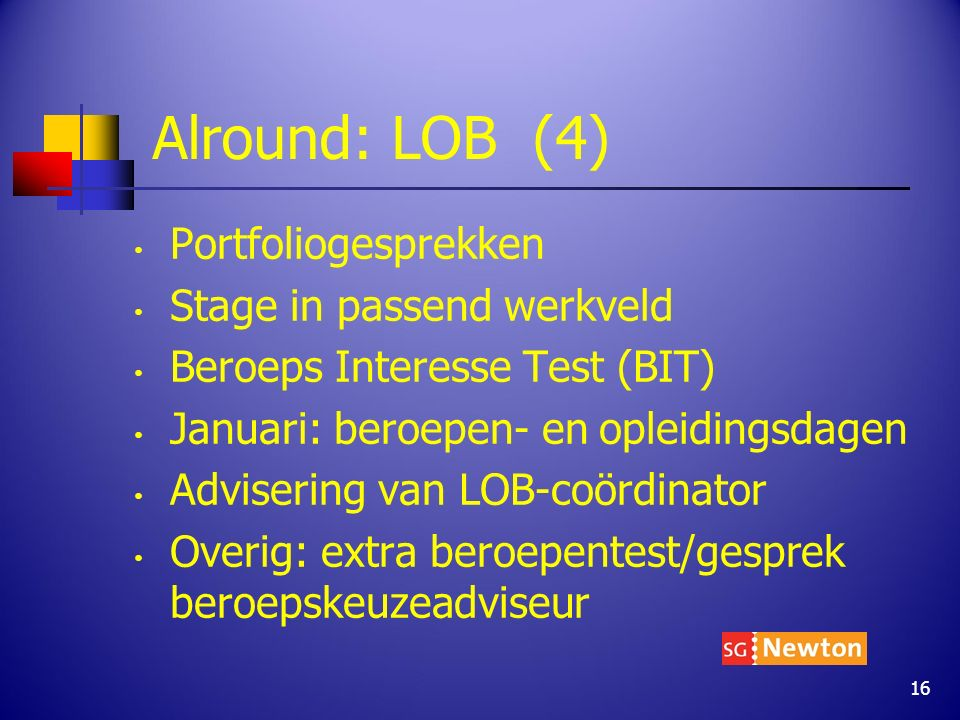 Alround: LOB (4) Portfoliogesprekken Stage in passend werkveld Beroeps Interesse Test (BIT) Januari: beroepen- en opleidingsdagen Advisering van LOB-c