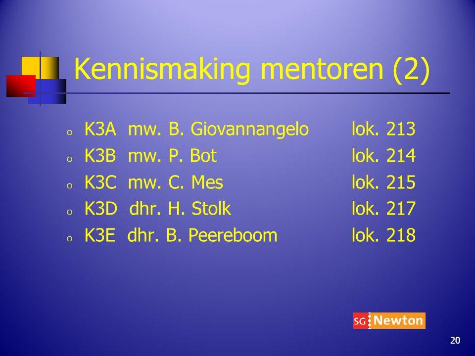 Kennismaking mentoren (2) o K3A mw. B. Giovannangelo lok. 213 o K3B mw. P. Botlok. 214 o K3C mw. C. Mes lok. 215 o K3D dhr. H. Stolklok. 217 o K3E dhr