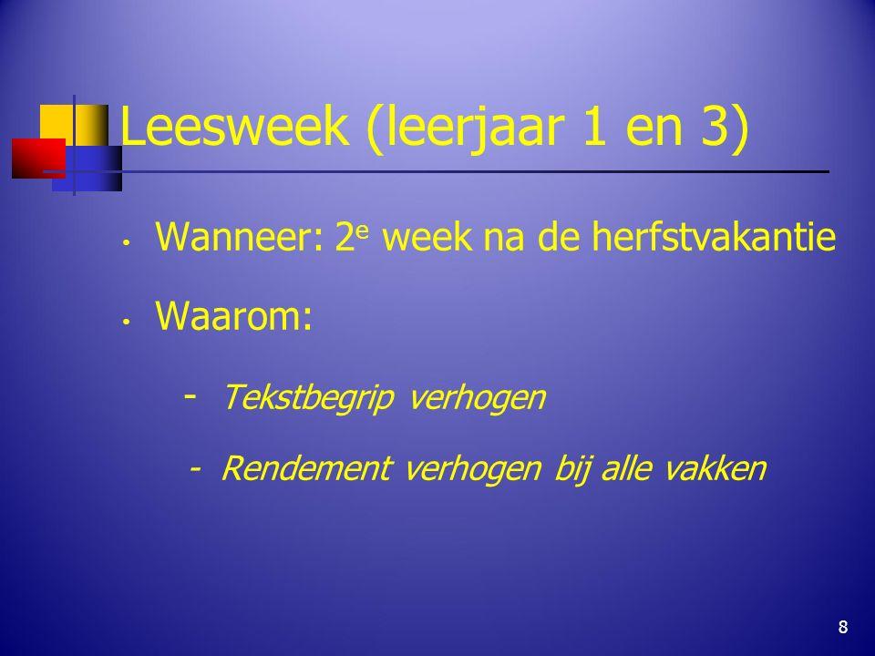 Leesweek (leerjaar 1 en 3) Wanneer: 2 e week na de herfstvakantie Waarom: - Tekstbegrip verhogen - Rendement verhogen bij alle vakken 8