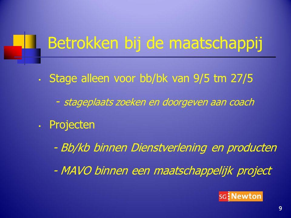 Betrokken bij de maatschappij Stage alleen voor bb/bk van 9/5 tm 27/5 - stageplaats zoeken en doorgeven aan coach Projecten - Bb/kb binnen Dienstverle