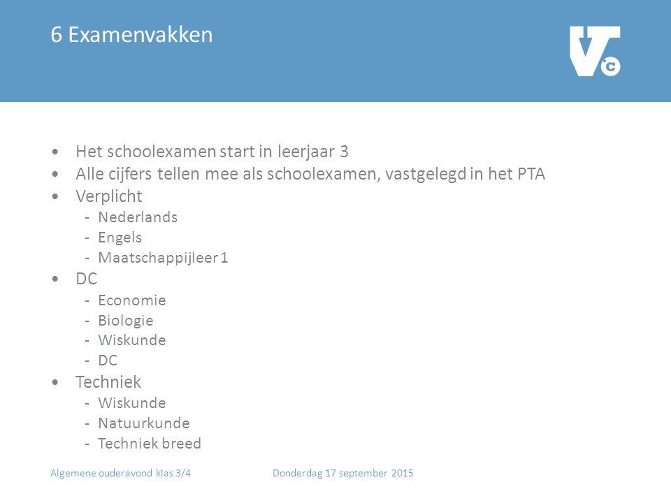6 Examenvakken Het schoolexamen start in leerjaar 3 Alle cijfers tellen mee als schoolexamen, vastgelegd in het PTA Verplicht -Nederlands -Engels -Maa