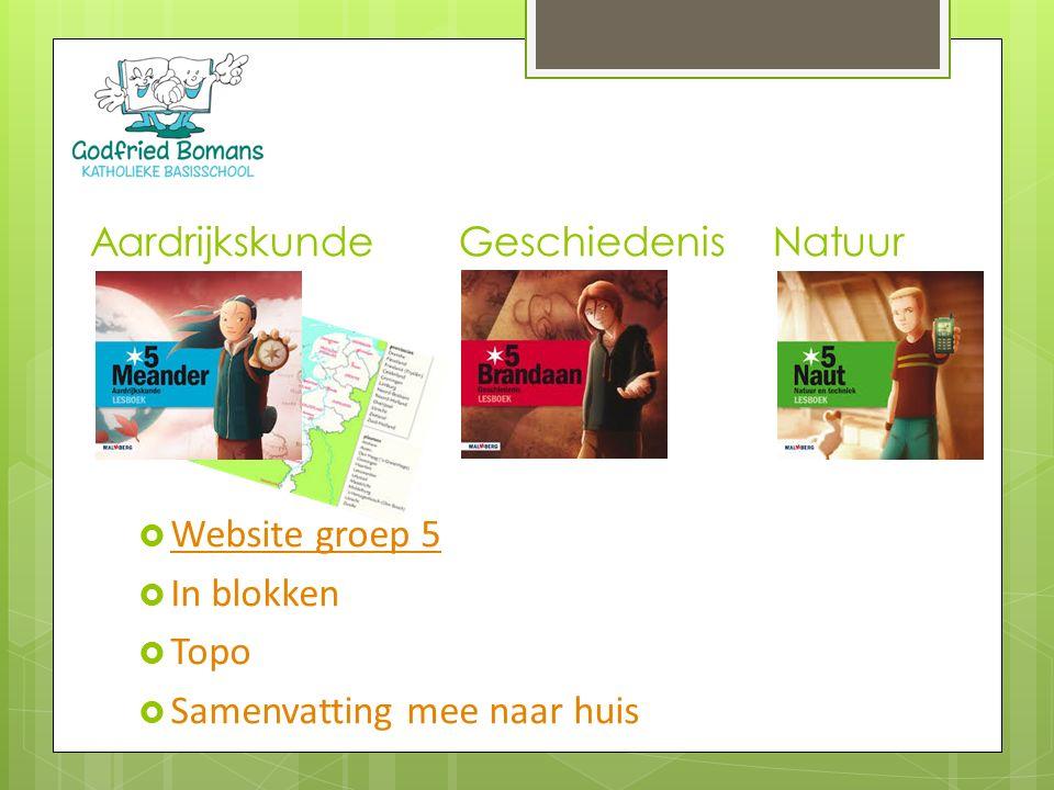  Website groep 5 Website groep 5  In blokken  Topo  Samenvatting mee naar huis Aardrijkskunde Geschiedenis Natuur