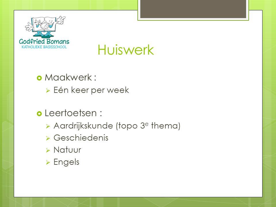 Huiswerk  Maakwerk :  Eén keer per week  Leertoetsen :  Aardrijkskunde (topo 3 e thema)  Geschiedenis  Natuur  Engels