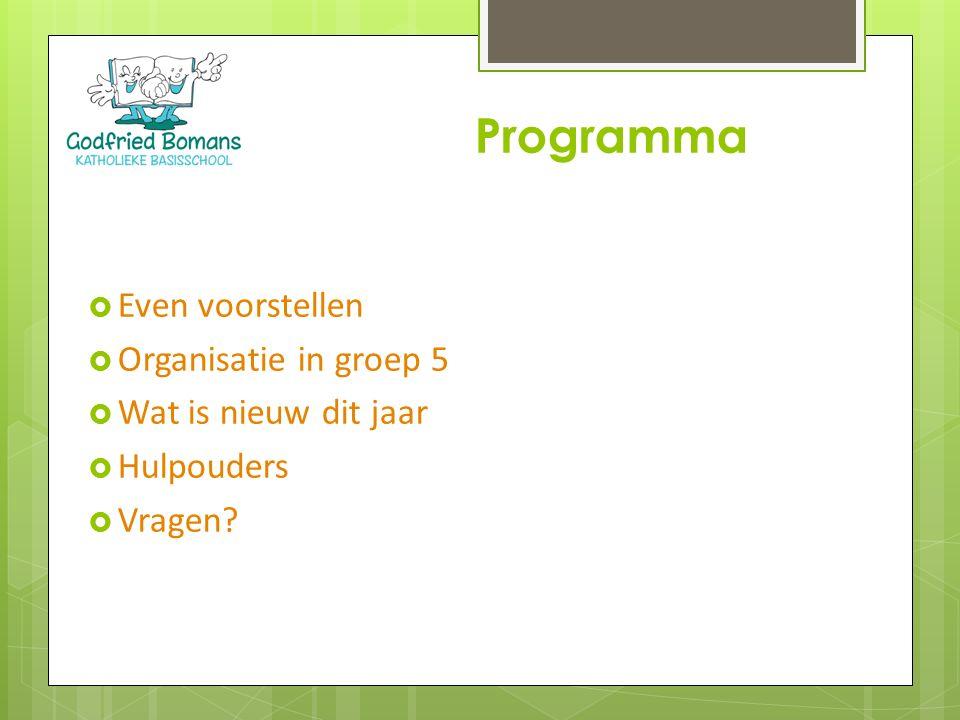  Even voorstellen  Organisatie in groep 5  Wat is nieuw dit jaar  Hulpouders  Vragen? Programma
