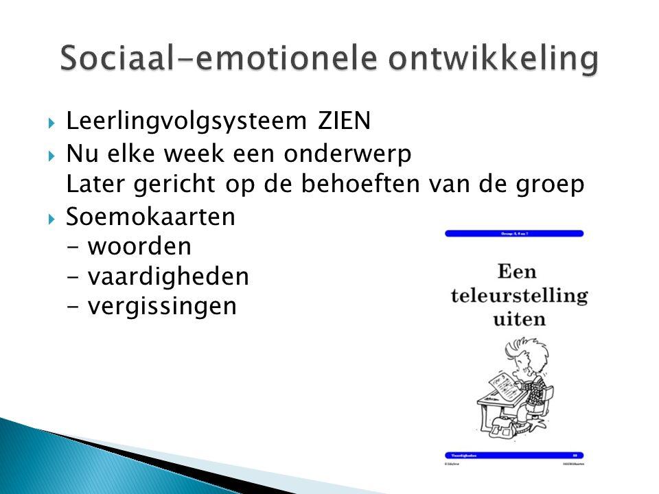  Leerlingvolgsysteem ZIEN  Nu elke week een onderwerp Later gericht op de behoeften van de groep  Soemokaarten - woorden - vaardigheden - vergissingen