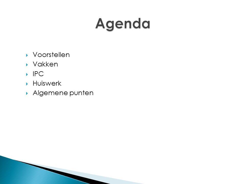  Voorstellen  Vakken  IPC  Huiswerk  Algemene punten