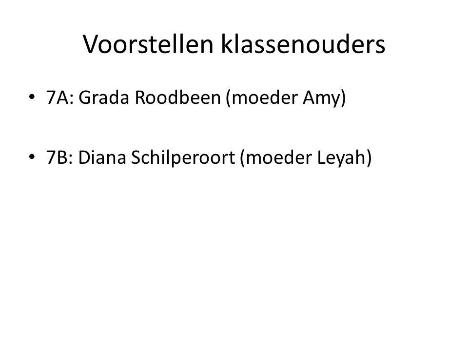 Voorstellen klassenouders 7A: Grada Roodbeen (moeder Amy) 7B: Diana Schilperoort (moeder Leyah)