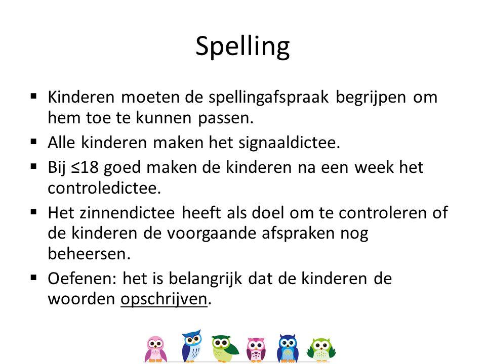  Kinderen moeten de spellingafspraak begrijpen om hem toe te kunnen passen.  Alle kinderen maken het signaaldictee.  Bij ≤18 goed maken de kinderen