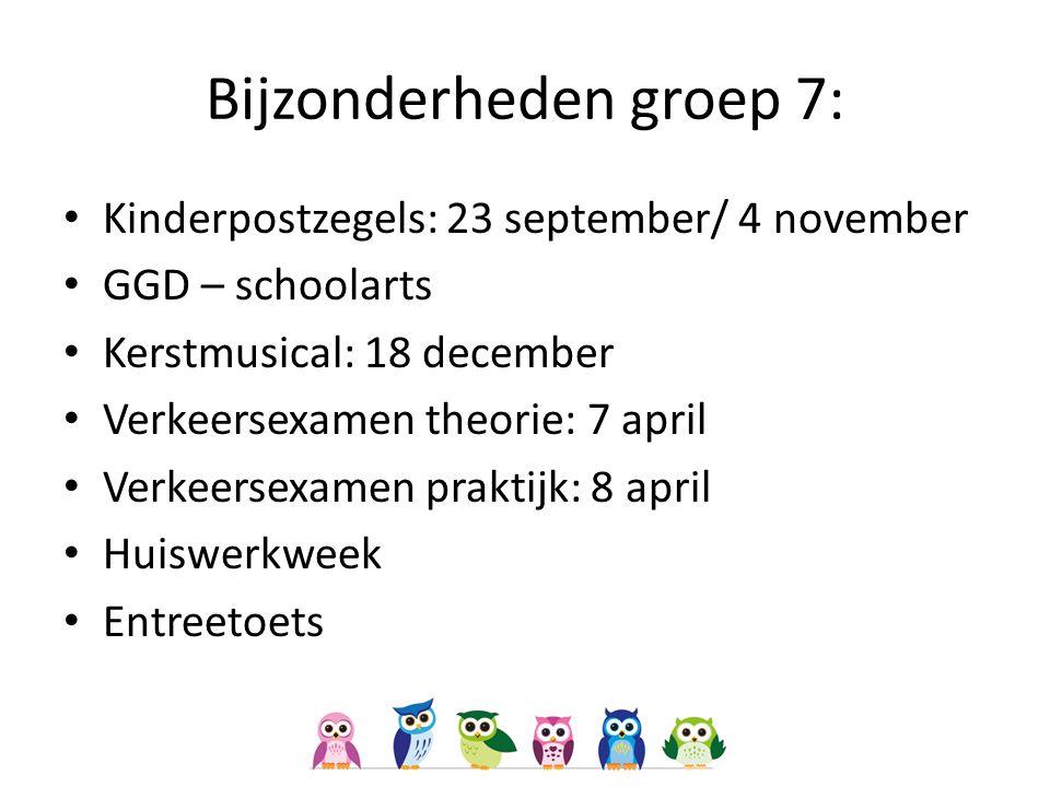 Bijzonderheden groep 7: Kinderpostzegels: 23 september/ 4 november GGD – schoolarts Kerstmusical: 18 december Verkeersexamen theorie: 7 april Verkeers