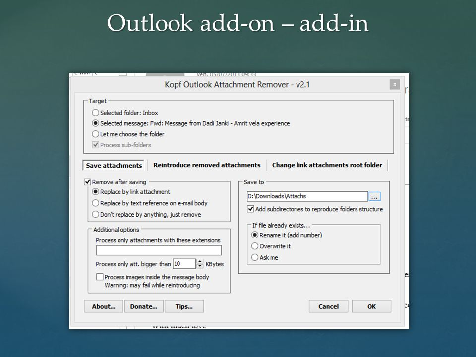 Outlook add-on – add-in