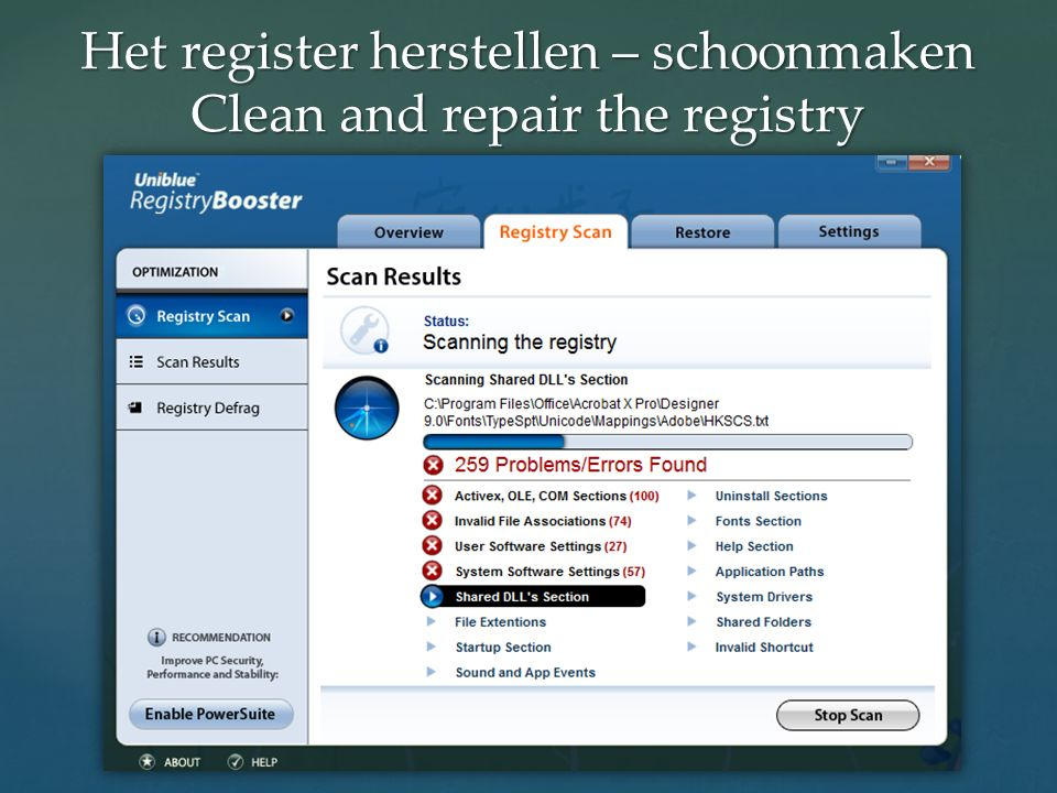 Het register herstellen – schoonmaken Clean and repair the registry