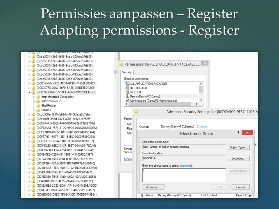 Permissies aanpassen – Register Adapting permissions - Register