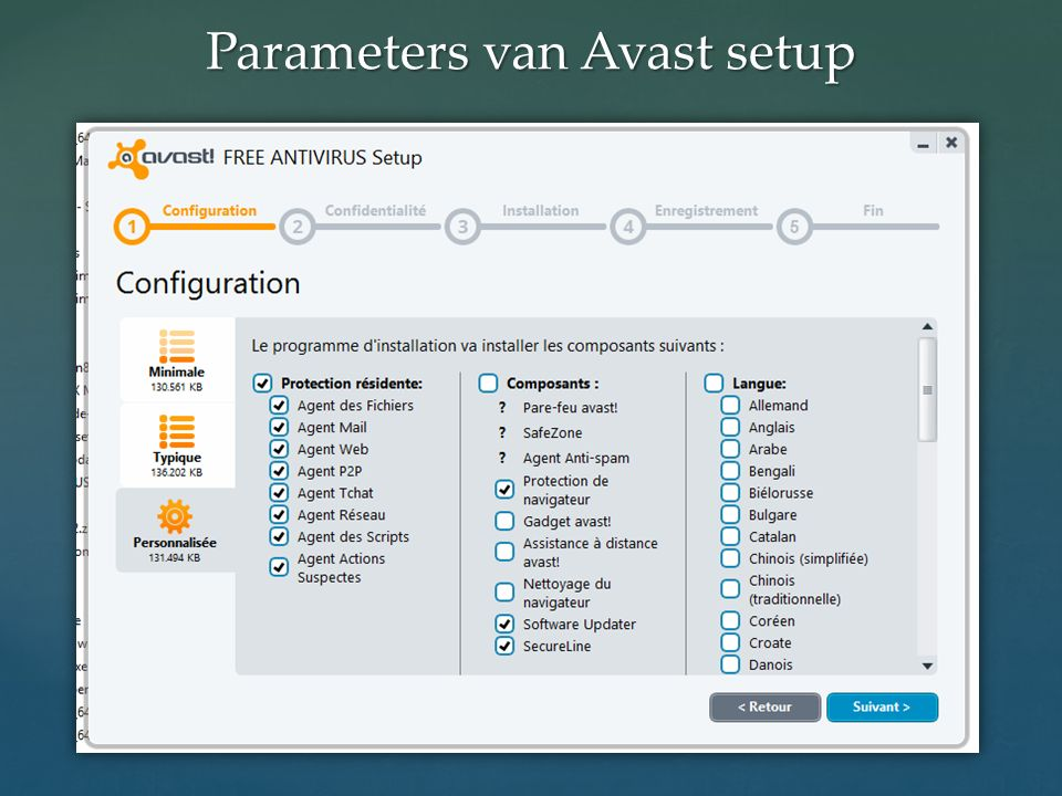 Parameters van Avast setup