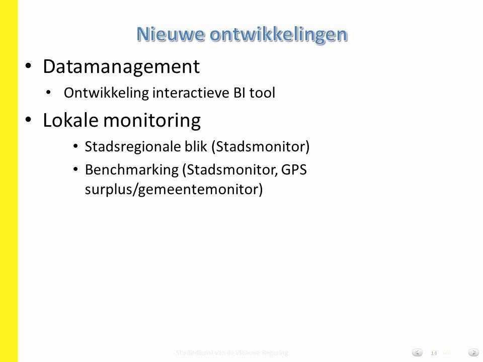 Studiedienst van de Vlaamse Regering van14 Datamanagement Ontwikkeling interactieve BI tool Lokale monitoring Stadsregionale blik (Stadsmonitor) Bench