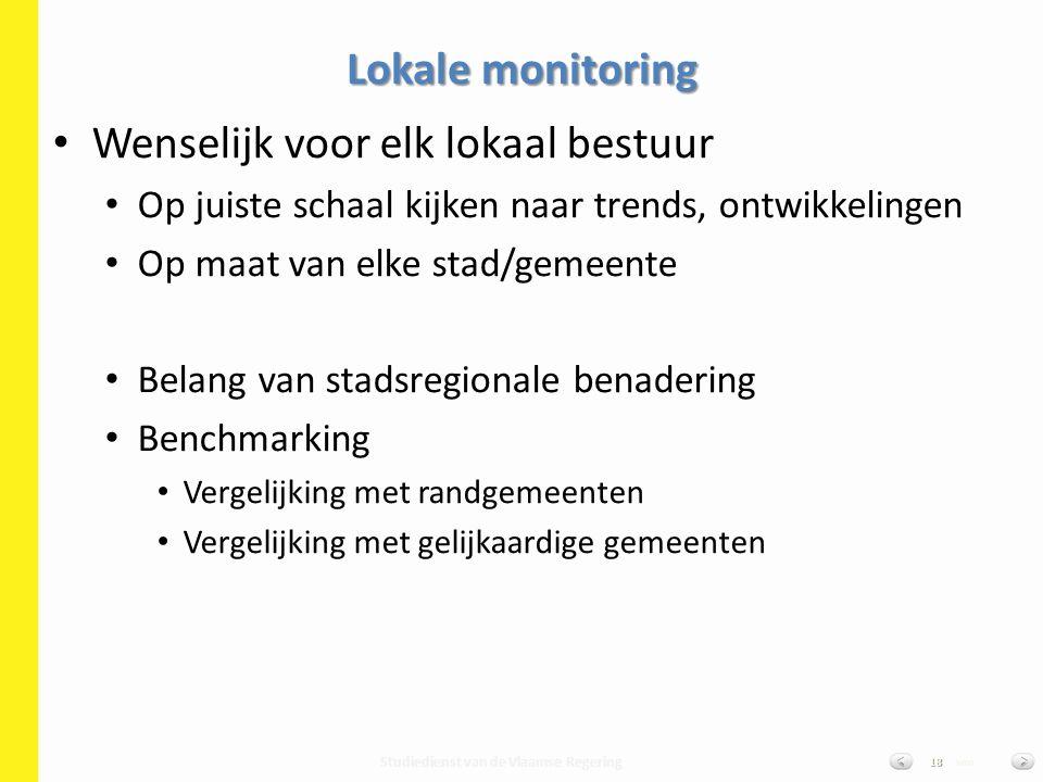 Studiedienst van de Vlaamse Regering van18 Wenselijk voor elk lokaal bestuur Op juiste schaal kijken naar trends, ontwikkelingen Op maat van elke stad/gemeente Belang van stadsregionale benadering Benchmarking Vergelijking met randgemeenten Vergelijking met gelijkaardige gemeenten