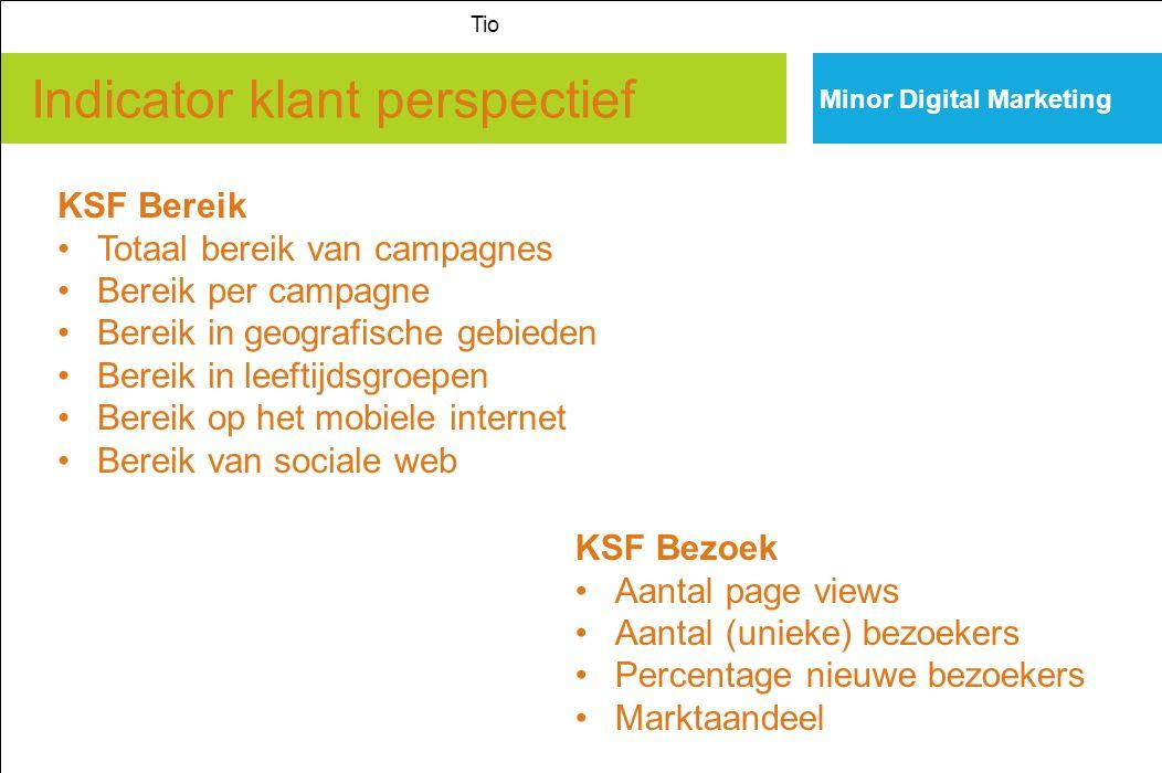 Indicator klant perspectief Minor Digital Marketing Tio KSF Bereik Totaal bereik van campagnes Bereik per campagne Bereik in geografische gebieden Ber
