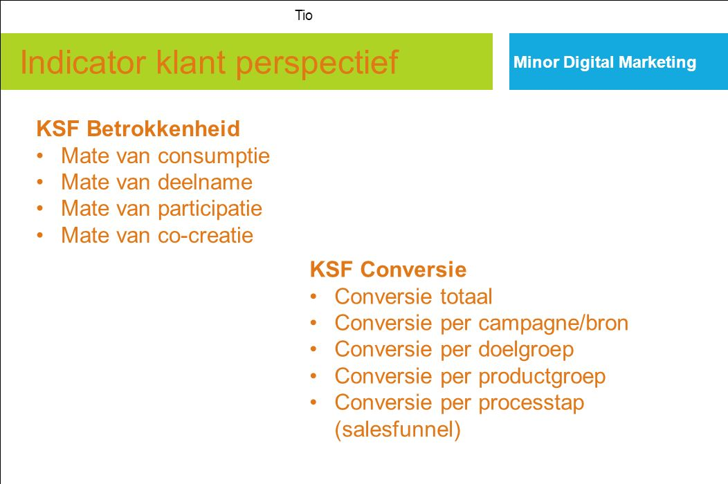 Indicator klant perspectief Minor Digital Marketing Tio KSF Betrokkenheid Mate van consumptie Mate van deelname Mate van participatie Mate van co-crea