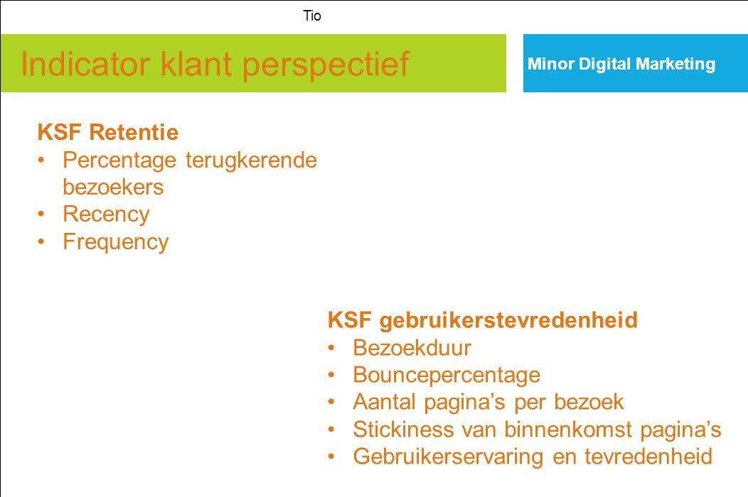 Indicator klant perspectief Minor Digital Marketing Tio KSF Retentie Percentage terugkerende bezoekers Recency Frequency KSF gebruikerstevredenheid Be
