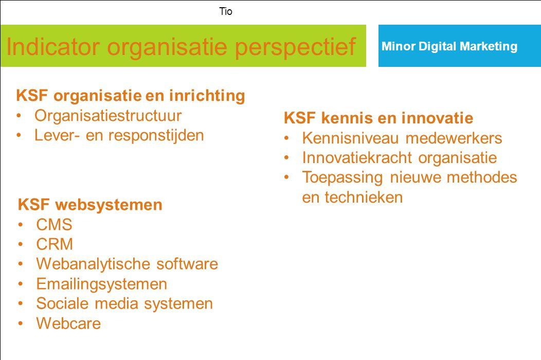 Indicator organisatie perspectief Minor Digital Marketing Tio KSF organisatie en inrichting Organisatiestructuur Lever- en responstijden KSF kennis en