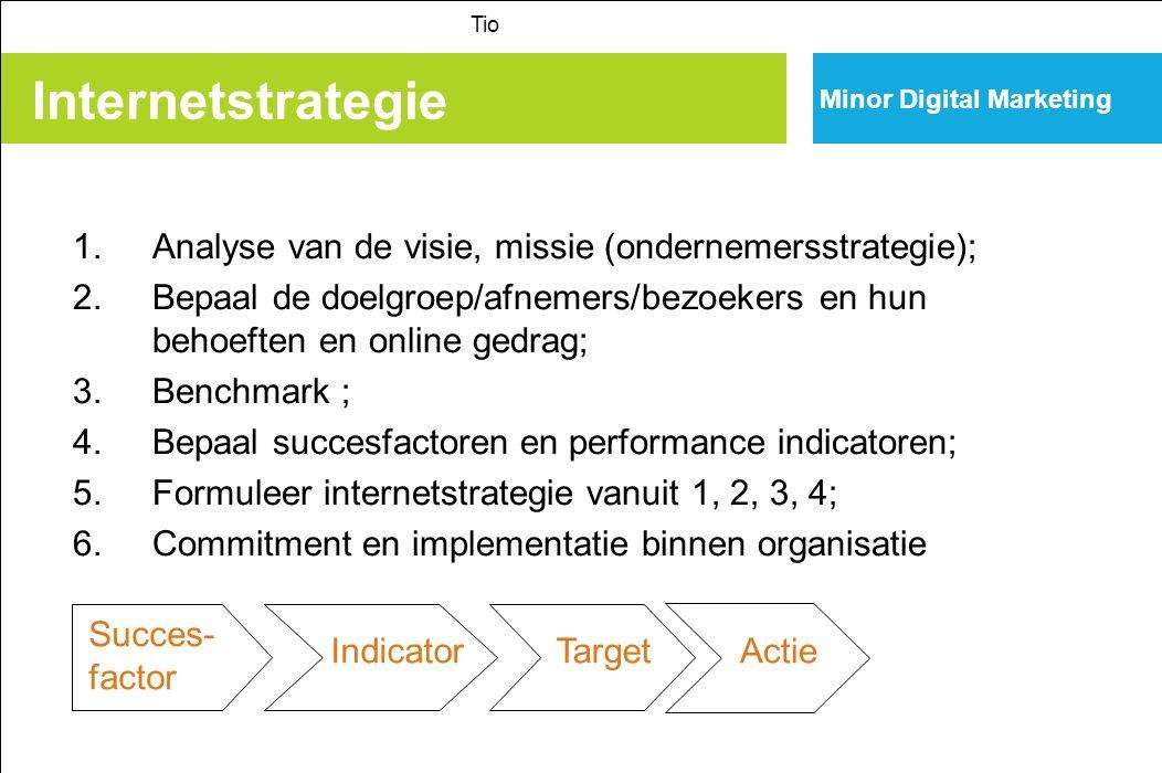 Internetstrategie Minor Digital Marketing Tio 1.Analyse van de visie, missie (ondernemersstrategie); 2.Bepaal de doelgroep/afnemers/bezoekers en hun b