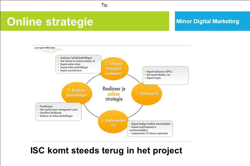 Online strategie Minor Digital Marketing ISC komt steeds terug in het project Tio