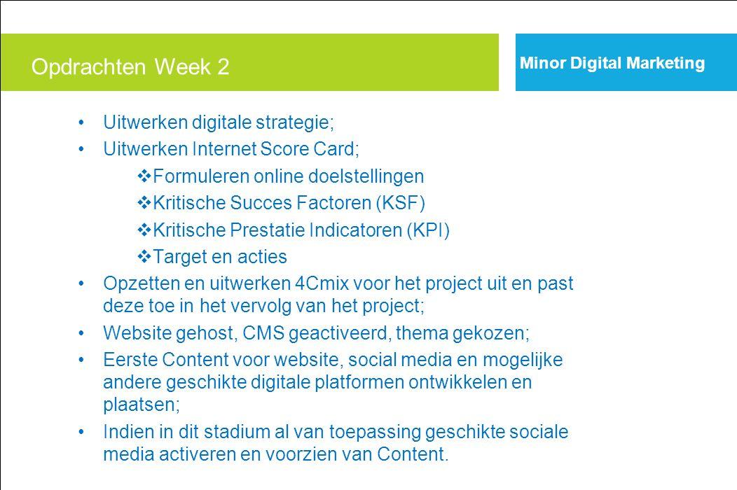 Uitwerken digitale strategie; Uitwerken Internet Score Card;  Formuleren online doelstellingen  Kritische Succes Factoren (KSF)  Kritische Prestati