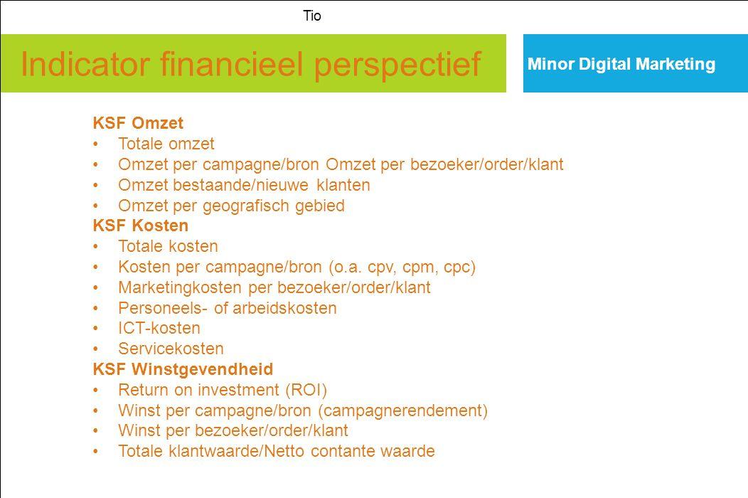 Indicator financieel perspectief Minor Digital Marketing Tio KSF Omzet Totale omzet Omzet per campagne/bron Omzet per bezoeker/order/klant Omzet besta