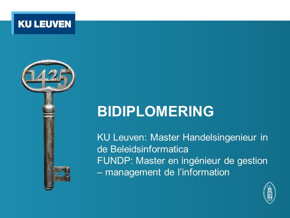 BIDIPLOMERING KU Leuven: Master Handelsingenieur in de Beleidsinformatica FUNDP: Master en ingénieur de gestion – management de l'information