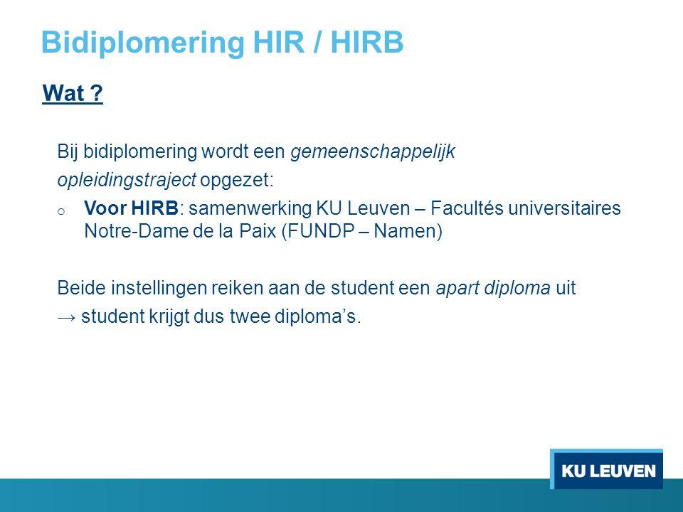 Bidiplomering HIR / HIRB Wat .