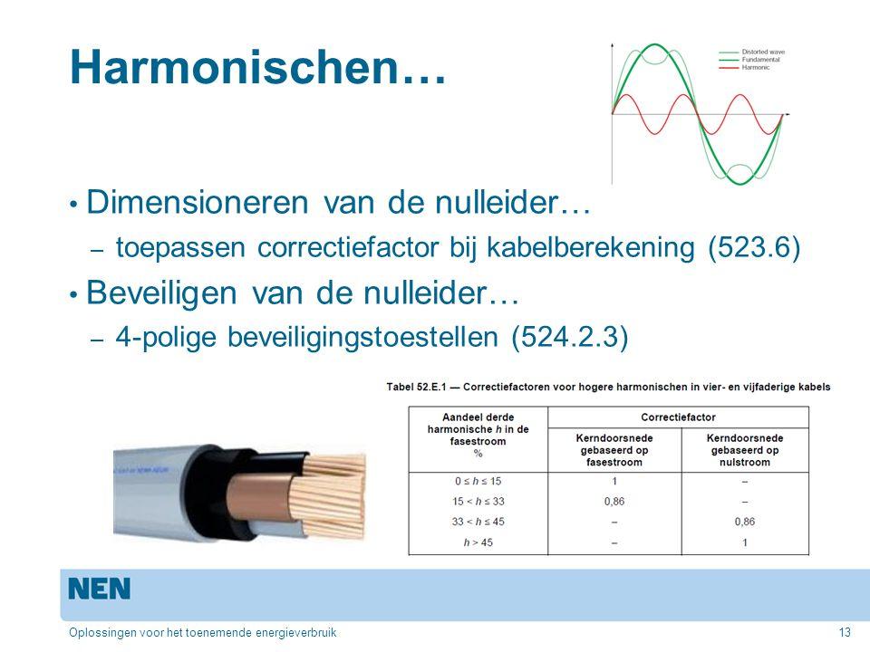 Harmonischen… Dimensioneren van de nulleider… – toepassen correctiefactor bij kabelberekening (523.6) Beveiligen van de nulleider… – 4-polige beveiligingstoestellen (524.2.3) Oplossingen voor het toenemende energieverbruik13