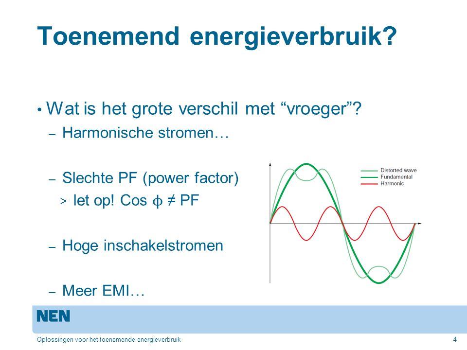 """Toenemend energieverbruik? Wat is het grote verschil met """"vroeger""""? – Harmonische stromen… – Slechte PF (power factor) > let op! Cos ϕ ≠ PF – Hoge ins"""