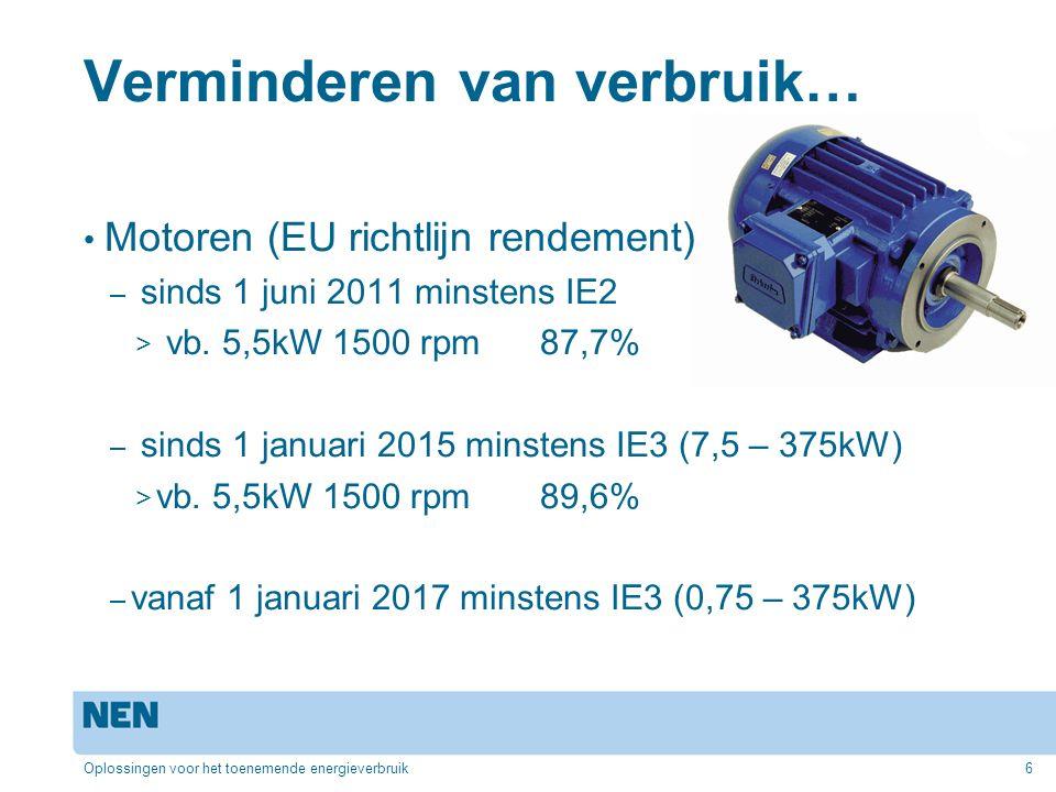 Verminderen van verbruik… Motoren (EU richtlijn rendement) – sinds 1 juni 2011 minstens IE2 > vb. 5,5kW 1500 rpm 87,7% – sinds 1 januari 2015 minstens