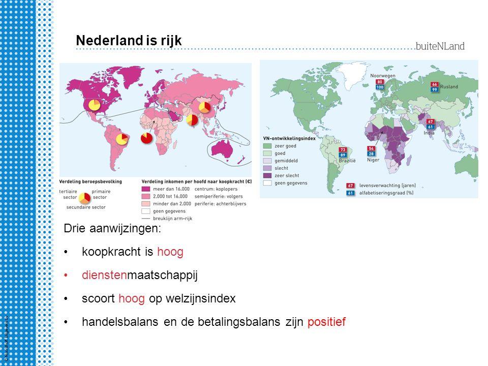 Nederland is rijk.Welke twee aanwijzingen geeft de handelsbalans daarvoor.