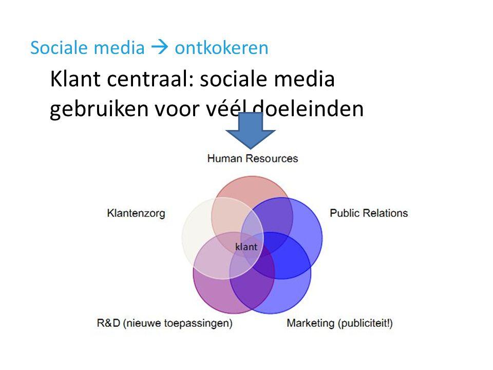 Sociale media  ontkokeren Klant centraal: sociale media gebruiken voor véél doeleinden