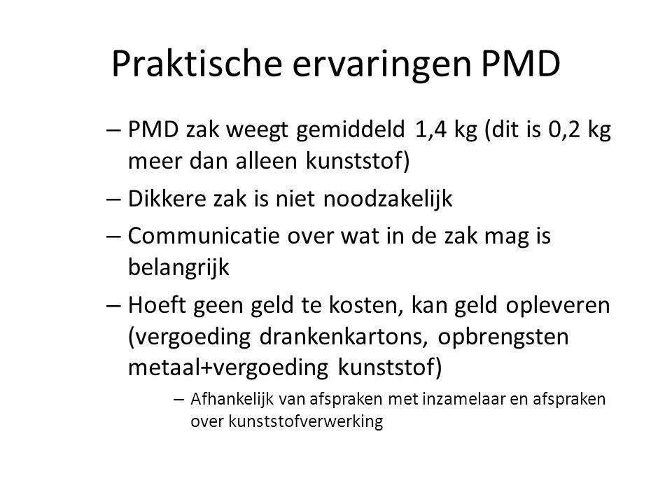 Praktische ervaringen PMD – PMD zak weegt gemiddeld 1,4 kg (dit is 0,2 kg meer dan alleen kunststof) – Dikkere zak is niet noodzakelijk – Communicatie