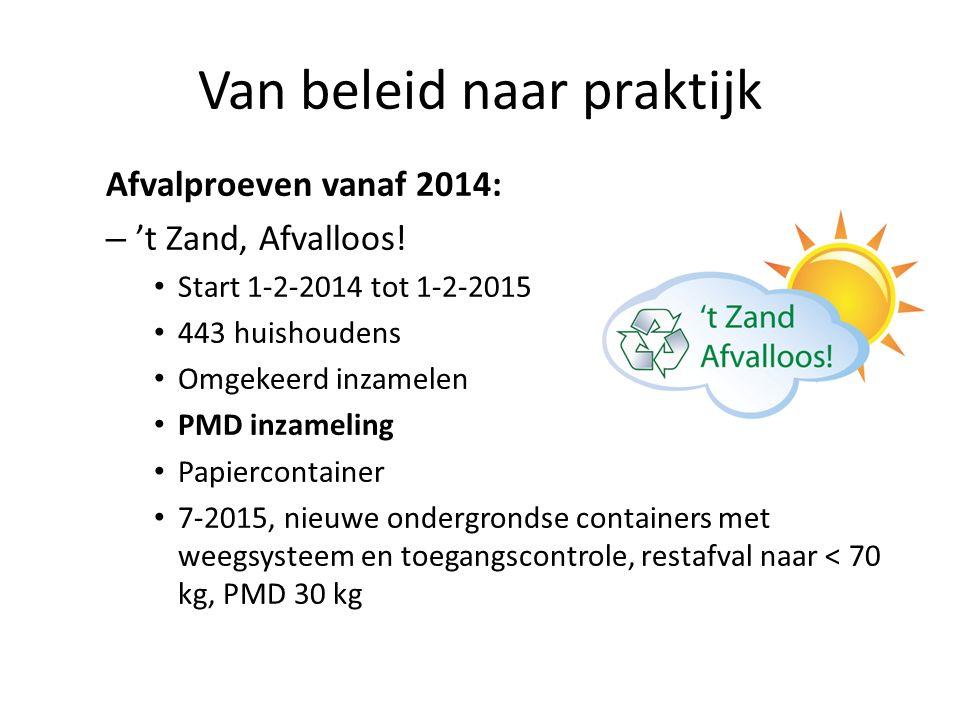 Van beleid naar praktijk Afvalproeven vanaf 2014: – 't Zand, Afvalloos! Start 1-2-2014 tot 1-2-2015 443 huishoudens Omgekeerd inzamelen PMD inzameling