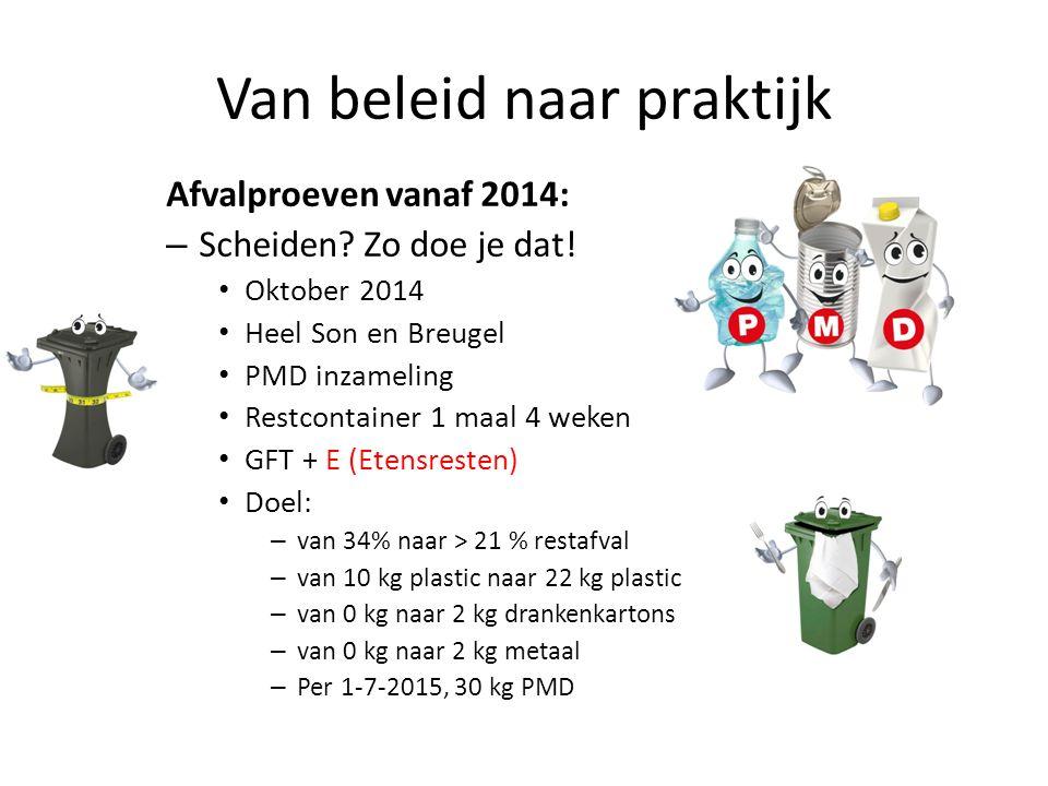 Van beleid naar praktijk Afvalproeven vanaf 2014: – Scheiden? Zo doe je dat! Oktober 2014 Heel Son en Breugel PMD inzameling Restcontainer 1 maal 4 we