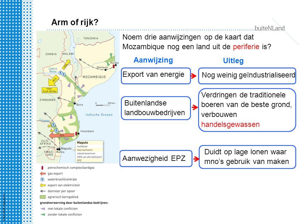 Arm of rijk? Noem drie aanwijzingen op de kaart dat Mozambique nog een land uit de periferie is? Aanwijzing Uitleg Aanwezigheid EPZ Buitenlandse landb