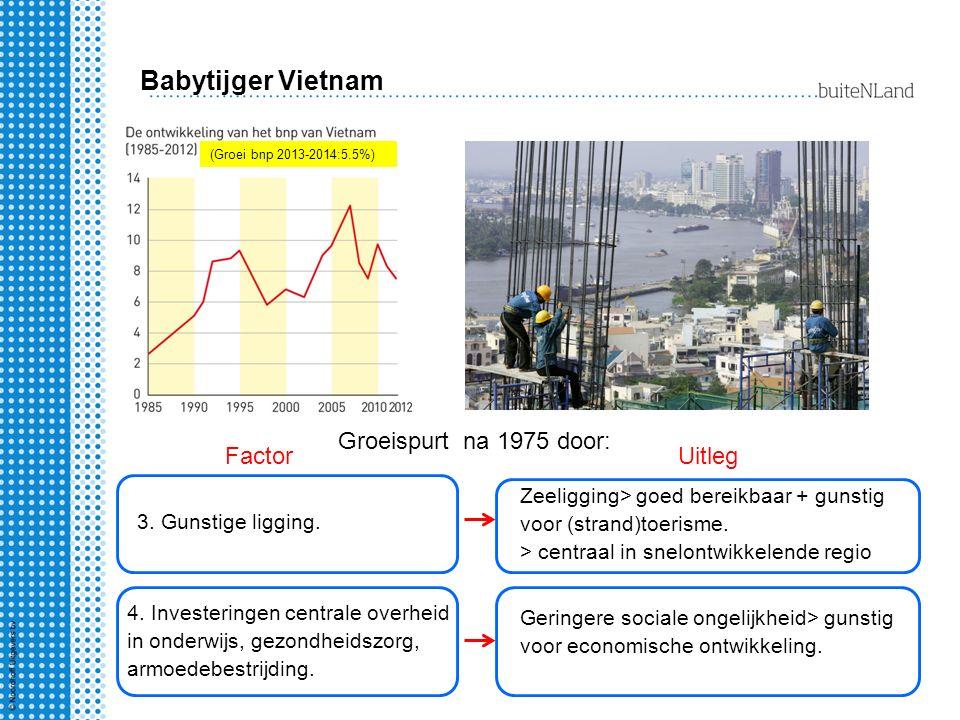 Babytijger Vietnam (Groei bnp 2013-2014:5.5%) Groeispurt na 1975 door: FactorUitleg 3. Gunstige ligging. Zeeligging> goed bereikbaar + gunstig voor (s