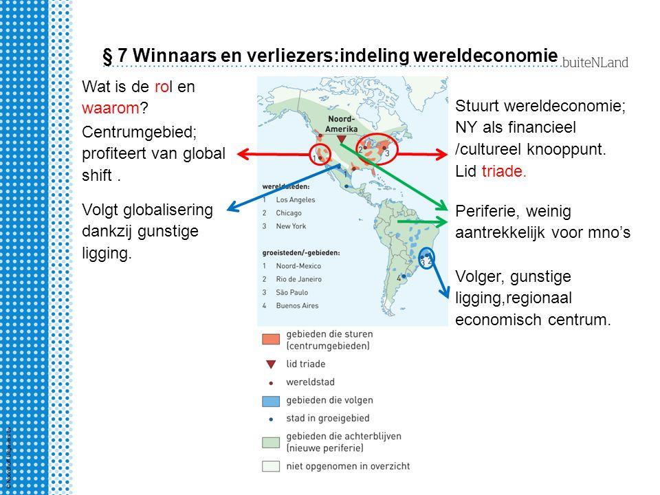 § 7 Winnaars en verliezers:indeling wereldeconomie Stuurt wereldeconomie; NY als financieel /cultureel knooppunt.