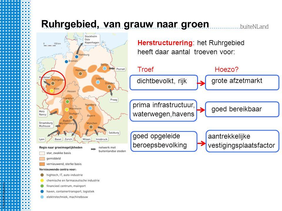 Ruhrgebied, van grauw naar groen Herstructurering: het Ruhrgebied heeft daar aantal troeven voor: Troef dichtbevolkt, rijk grote afzetmarkt prima infrastructuur, waterwegen,havens goed bereikbaar goed opgeleide beroepsbevolking aantrekkelijke vestigingsplaatsfactor Hoezo?