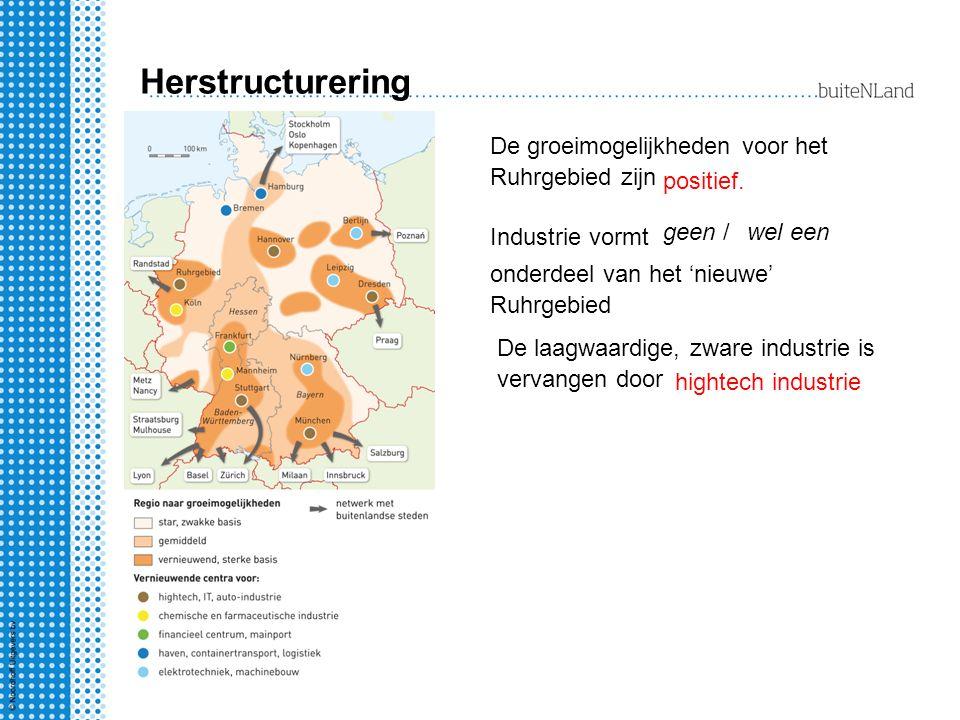Herstructurering De groeimogelijkheden voor het Ruhrgebied zijn positief. Industrie vormt wel een onderdeel van het 'nieuwe' Ruhrgebied De laagwaardig