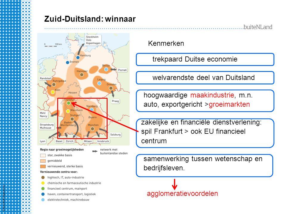 Zuid-Duitsland: winnaar Kenmerken trekpaard Duitse economie welvarendste deel van Duitsland hoogwaardige maakindustrie, m.n. auto, exportgericht >groe